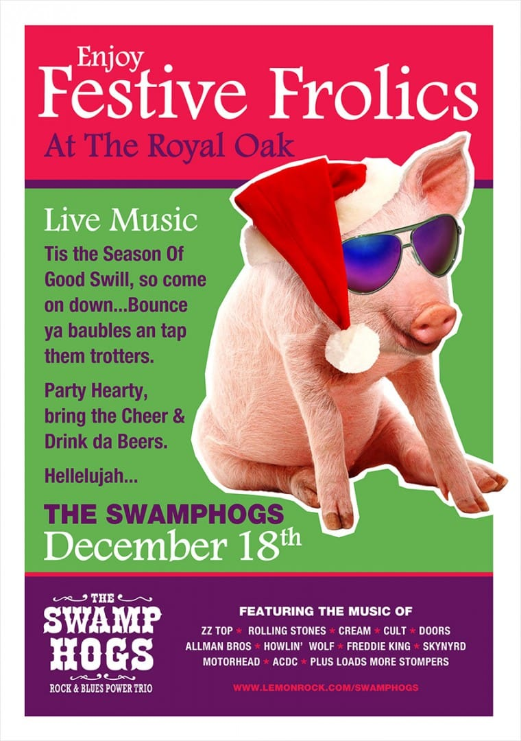 SWAMP HOGS are back for Festive Frolics at the Royal Oak Pub on Friday 18th December · Malborough, Kingsbridge, Devon